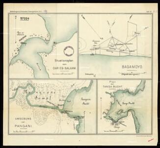 General layout of Dar Es Salaam [and] Bagamoyo [and] surroundings of Pangani [and] plan of Tanga Bay