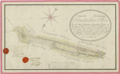 Geometrický plán měšťanských zahrad podél vídeňské silnice v úseku od Jindřichodradecké brány po Mlýnskou stoku