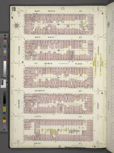 Manhattan, V. 2, Plate No. 19 [Map bounded by E. 10th St., 1st Ave., 5th St., 2nd Ave.]