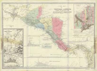 A new map of Central America shewing the different lines of Atlantic and Pacific communication