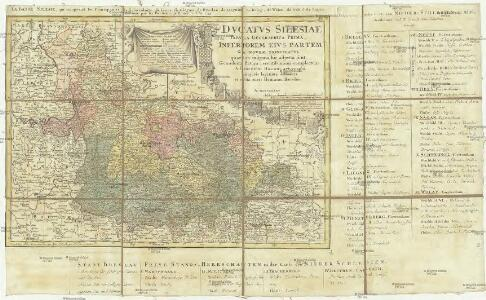 Ducatvs Silesiae tabvla geographica prima inferiorem eivs partem seu novem principatvs, quorum insignia hic adjecta sunt, secundum statum recentissimus complectens