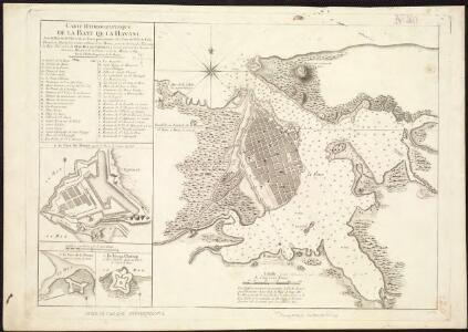 Carte hydrographique de la baye de la Havane, avec le plan de la ville et de ses forts pour joindre a la Carte de l'isle de Cube