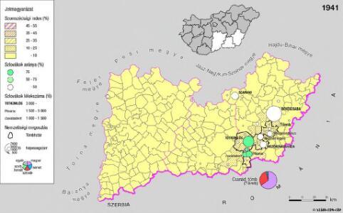 A szlovákok településterülete a szomszédsági mutató alapján Dél-Alföldön 1941-ban