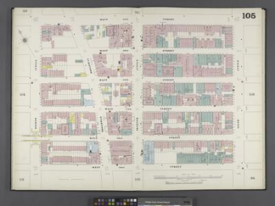 Manhattan, V. 6, Double Page Plate No. 105 [Map bounded by W. 57th St., 6th Ave., W. 52nd St., 8th Ave.]
