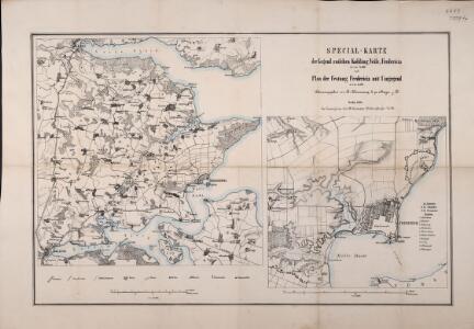 Special-Karte der Gegend zwischen Kolding, Veile, Fredericia in 1:75,000 und Plan der Festung Fredericia mit Umgegend in 1:25,000