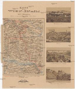 Karte der Linie Wien-Znaim der oesterr. Nordwestbahn