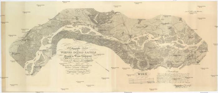 Uebersichts Karte des Wiener Donau Kanals und der Donau in Wiens Umgegend