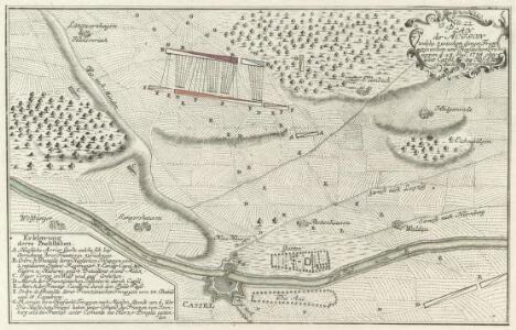 Plan der Action welche zwischen denen Französischen und Hessischen Trouppen d: 23 Jul: 1758 ohnweit Cassel bey Hof- Ellenbach vorgefallen