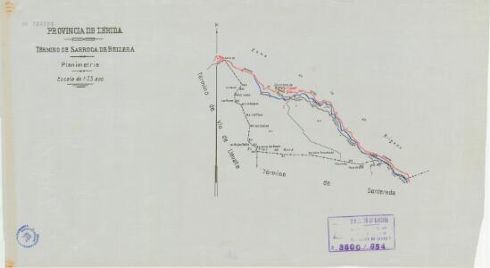 Mapa planimètric de Sarroca de Bellera
