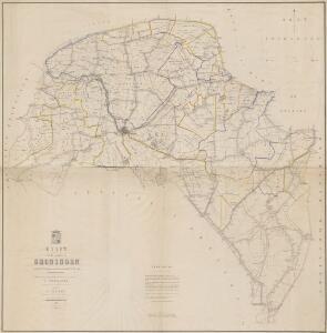 Kaart van de provincie Groningen waarop grootendeels de uitkomsten van de aldaar in de jaren 1855 tot 1859 gedane waterpassingen zijn aangewezen