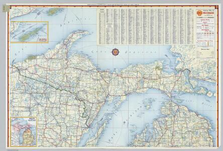 Shell Highway Map of Michigan (northern portion).