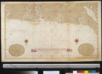 De kusten van Suraname van Marawini tot de Barbice vertoonende de nette en ware distantie der riviere