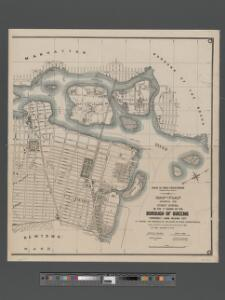 Map and plan showing the street system in the 1st ward of the borough of Queens, formerly Long Island City.