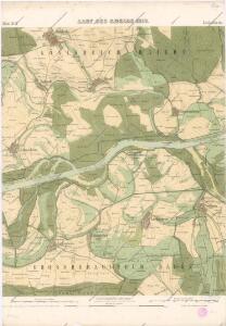 Carte über den Lauf des Rheins von Lauterburg bis unterhalb Sandhofen längs der Badisch - Bayerschen Grenze