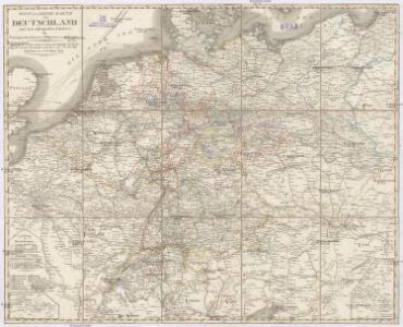 Post und Reise-Karte von Deutschland und den anliegenden Ländern für Extraposten, Couriere, Diligencen und Eilwagen
