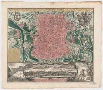 Madritum sive Manuta Capretanorum celeberrima Castiliæ Novæ civitas et monarcharum Hispanicorum magnificentißima regia sedes = Madrit la plus celebre ville dans la Castille nouvelle et la plus magnifique residence des monarques d'Espange
