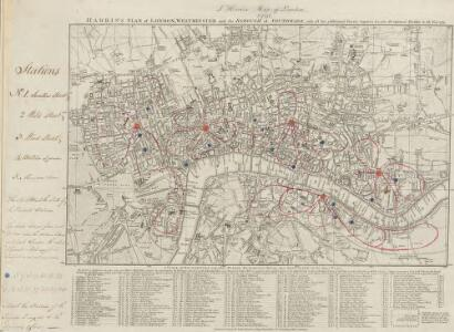 HARRIS'S PLAN of LONDON, WESTMINSTER and the BOROUGH of SOUTHWARK, with all the additional Streets, Squares &c; also the improved ROADS to the Year 1791.