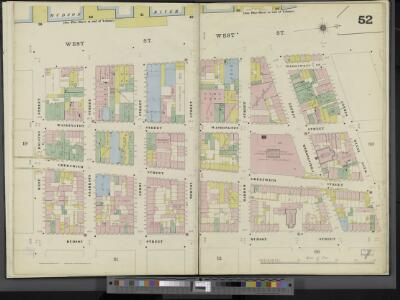 Manhattan, V. 3, Double Page Plate No. 52 [Map bounded by West St., W. 10th St., Hudson St., W. Houston St.]