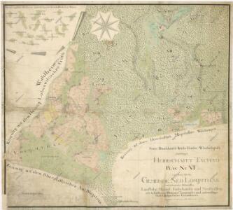 Mapa vrchnostenských lesů a pozemků u obce Jedlina a osad Laufloh, Mühlel, Nová Huť a Fuchshäuseln