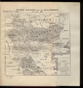 Règions occupèes par les belligèrants fin avril 1913
