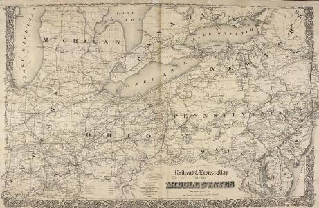Railroad & Express Map of the Middle States