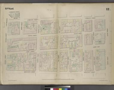 Plate 12: Map bounded by Chatham Street, East Broadway, Chatham Square, Catherine Street, South Street, Roosevelt Street