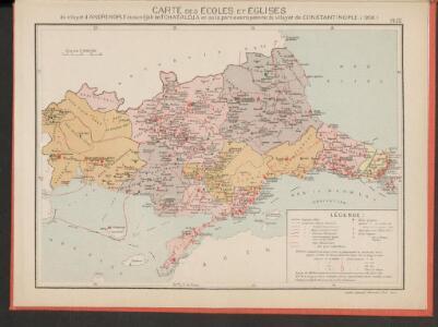 Carte des écoles et églises du vilayet d'Andrinople du sandjak de Tchataldja et de la partie européenne du vilayet de Constantinople (1908)