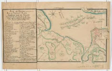 Plan de Quebec en la nouvelle France assiegé par les Anglois : le 16 d'octobre 1690, jusqu'au 22 dudit mois qu'ils furent obligés de se retirer chez eux apprés avoir ésté bien battus, par mr. le comte de Frontenac, gouverneur general du pays