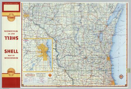 Shell Highway Map of Wisconsin (northern portion).
