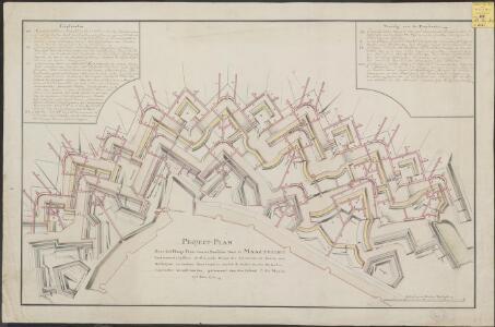 Project-Plan over het Hooge Front voor de Brusselse Poort te Maastricht vertoonende teffens de generale dispositie der verscheide soorten van gallerijen en andere sous-terrains, die tot de onder-aerdse defentie van t'selve vereijst worden, geformeert door den Colonel C: Du Moulin in t jaar 1772