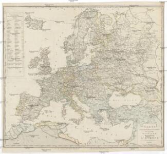 Carte politique hydrographique & routiere de l'Europe
