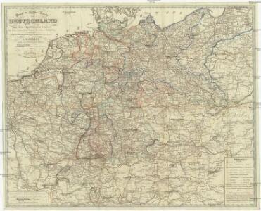Post- u. Reise- Karte von Deutschland und den angränzenden Ländern bis Paris, Lyon, Turin, Mailand, Warschau u. Königsberg
