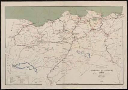 Département de Constantine. Carte des voies de communication