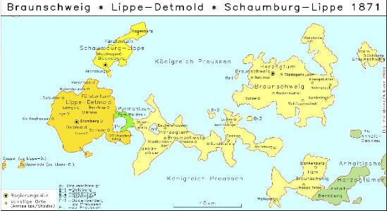 Braunschweig, Lippe-Detmold, Schaumburg-Lippe 1871