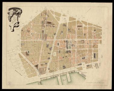 Plano de la reforma interior de la ciudad de Barcelona: aprobada por Reales Decretos de 12 de Abril de 1887 y 14 de Julio de 1889 / [trazado por D. J.M. Serra]