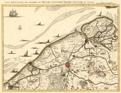 Carte Particuliere des environs de Bruges, Ostende, Damme, l'Ecluse et autres