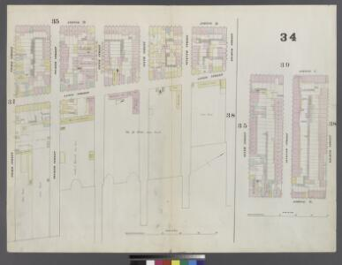 Plate 34: Map bounded by 8th Street, East river, 3rd Street, Avenue D, 6th Street, Aventue C