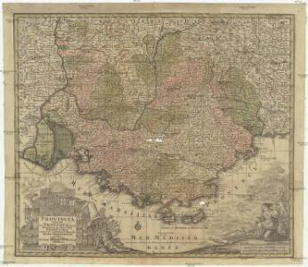 Provincia Gallis la Provence dicta determinata in omnes suas praefecturas cum terris confinibus et alluentib. Maris Mediterranei partibus