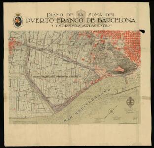 Plano de la zona del Puerto Franco de Barcelona y terrenos adyacentes