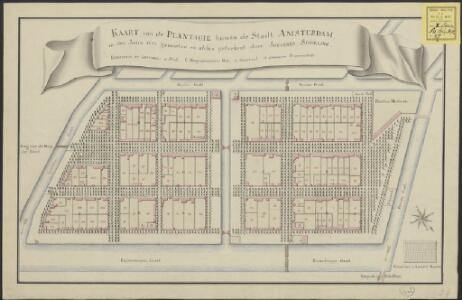 Kaart van de plantagie binnen de stadt Amsterdam