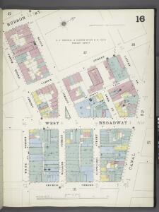 Manhattan, V. 1, Plate No. 16 [Map bounded by Hudson St., Laight St., Canal St., Church St., White St., North Moore St.]