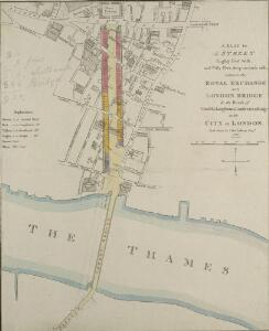 A PLAN for A STREET Eighty Feet wide, and Fifty Feet deep, on each side, between the ROYAL EXCHANGE AND LONDON BRIDGE