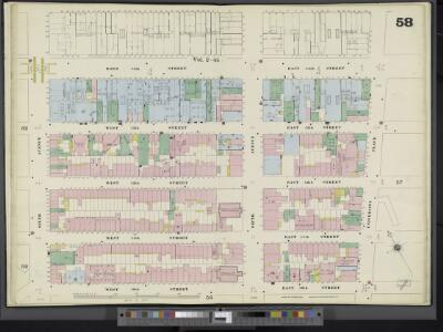 Manhattan, V. 3, Double Page Plate No. 58 [Map bounded by E. 14th St., University Pl., E. 10th St., W. 10th St., 6th Ave., W. 14th St.]