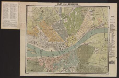 Plan von Budapest mit kurzem Wegweiser und Straßenverzeichnis