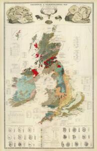 Composite: Geological, palaeontological map British Islands.