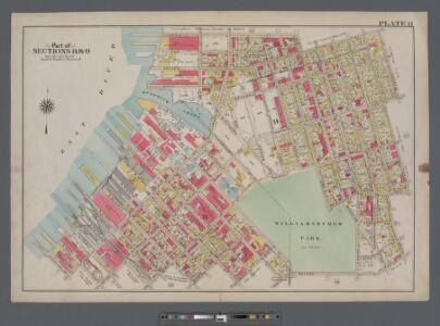 Plate 11: [Bounded by Noble St., Manhattan Ave., Calyer St., Diamond St., Norman Ave., Newell St., Driggs Ave., Graham Ave., Bayard St., Union Ave., Roebling Ave., N. Eleventh St., Driggs Ave., N. Ninth St., Bedford Ave., N. Seventh St., Berry St., N. Fi