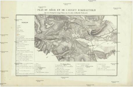 Plan du siége et de l'assaut d' Akhaltsikh du 5 au 15 aout par les troupes Rousses sous les ordres du Maréchal Paskewitch