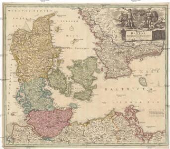 Regni Daniae, in quo sunt ducatus Holsatia et Slesvicum, insulae Danicae, provinciae Iutia Scania Blekingia etc. nova tabula