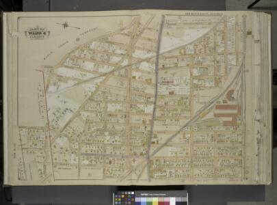Queens, Vol. 1, Double Page Plate No. 5; Sub Plan;    [Map bounded by Division Ave.; Including Market St., Church St., Richmond Hill   St., Drive, Walnut St.];Part of ward 4, Jamaica; [Map bounded by Newtown Road,   Whitepot Road, Cottage Ave., Richmo
