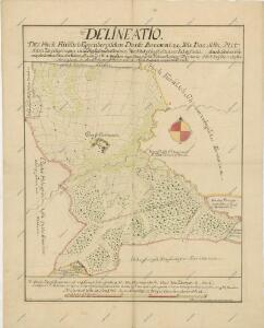 Geometrický plán hranic třeboňského a krumlovského panství u vsi Borovnice